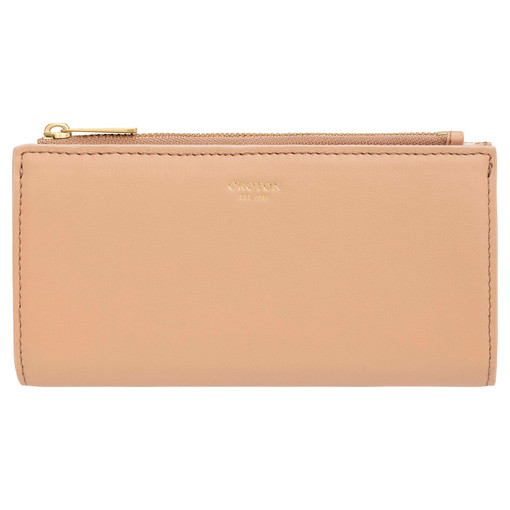 Oroton Luna Zip Fold Wallet in Praline and Smooth Leather for female
