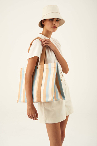Oroton Fred Large Tote in Sky Stripe and Coated Canvas/Smooth Leather for female