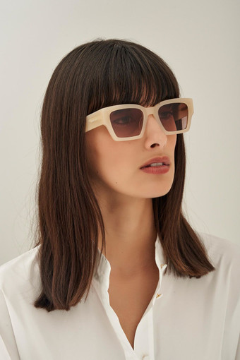 Oroton Stevie Sunglasses in Sand and Acetate for female