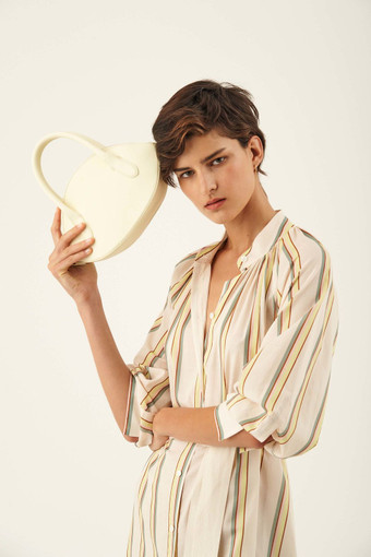 Oroton Avani Crescent Bag in Pale Lemon and 60% off-cut leather fibres, 30% vegetable origin, 10% synthetic for female
