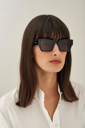Oroton Stevie Sunglasses in Black and Acetate for female