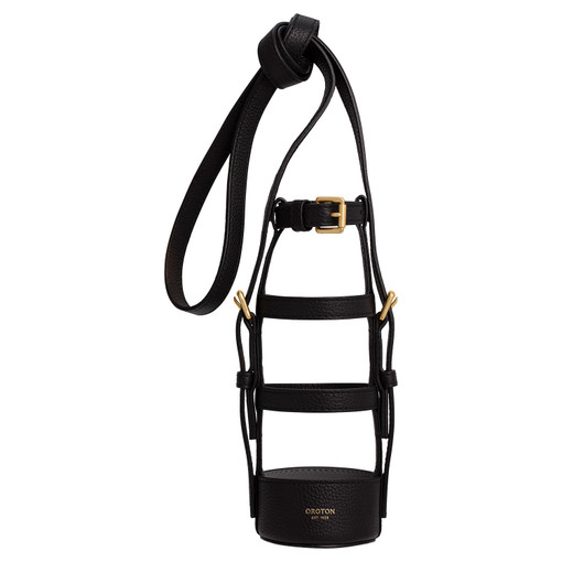 Oroton Margot Bottle Holder Crossbody in Black and Pebble Leather for female