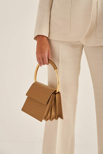 Oroton Leia Top Handle Bag in Praline and Ostrich Emboss Leather for female