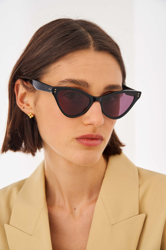 Oroton Parker Sunglasses in Black and Acetate for female
