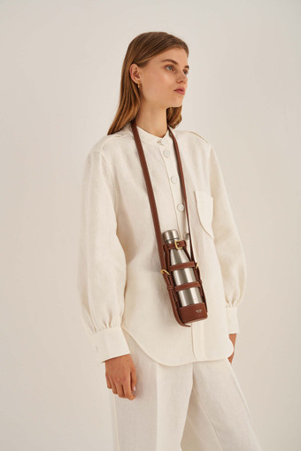 Oroton Margot Bottle Holder Crossbody in Whiskey/Natural and Pebble Leather for female
