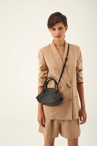 Oroton Avani Crescent Bag in Black and 60% off-cut leather fibres, 30% vegetable origin, 10% synthetic for female