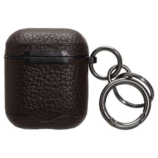 Oroton Lucas AirPods Keyring in Bitter Chocolate and Pebble Leather for male