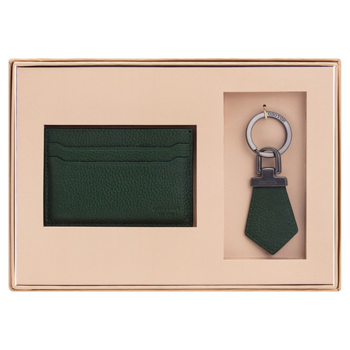 Oroton Harry Pebble Tag Keyring And Credit Card Sleeve Set in Moss Green and Pebble Leather for male