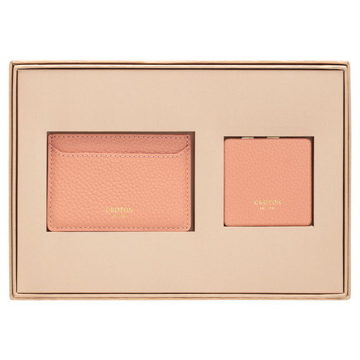 Oroton Lucy Credit Card Sleeve And Mirror Set in Peach Kiss and Pebble Leather for female