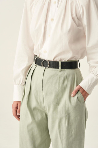 Oroton Phoebe Texture Jeans Belt in Charcoal and null for female