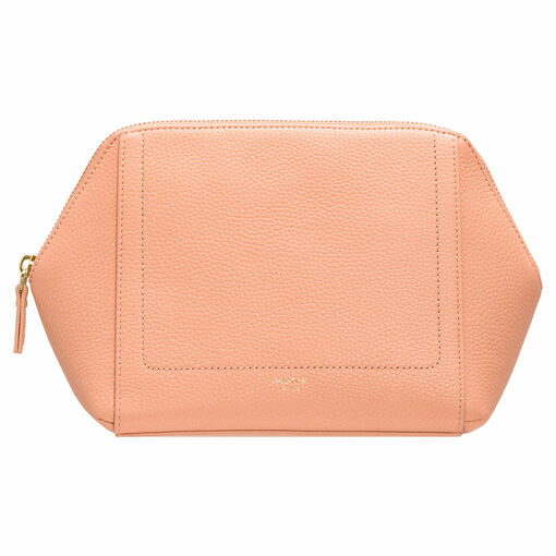 Oroton Lucy Large Beauty Case in Peach Kiss and Pebble Leather for female