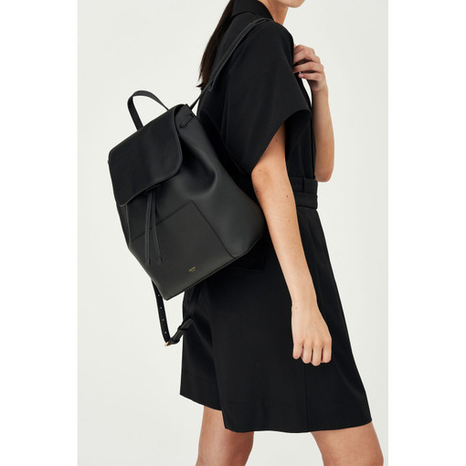 Oroton Duo Backpack in Black and Pebble Leather for female