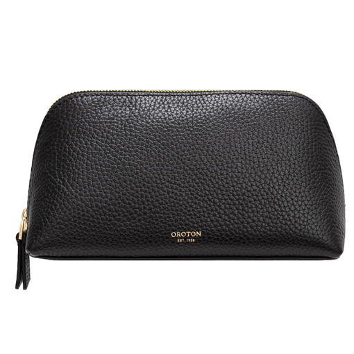 Oroton Anna Medium Beauty Case in Black and Pebble Leather for female