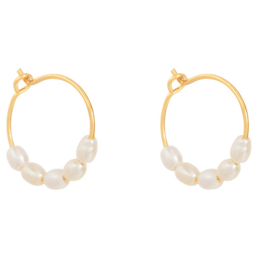 Oroton Violet Pearl Mini Hoop in Gold and null for female