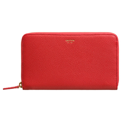 Oroton Capri Large Multi Pocket Zip Around Wallet in Poppy and Pebble Leather for female