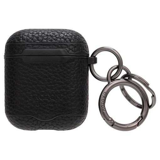 Oroton Lucas AirPods Keyring in Black and Pebble Leather for male