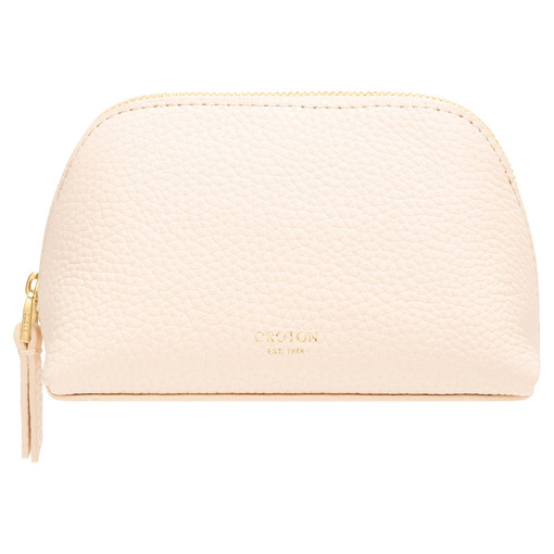 Oroton Anna Small Beauty Case in Soft Peach and Pebble Leather for female