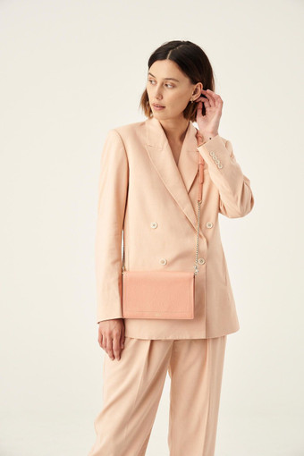 Oroton Lucy Fold Over Chain Crossbody in Peach Kiss and Pebble Leather for female
