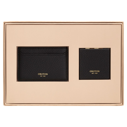 Oroton Lucy Credit Card Sleeve And Mirror Set in Black and Pebble Leather for female
