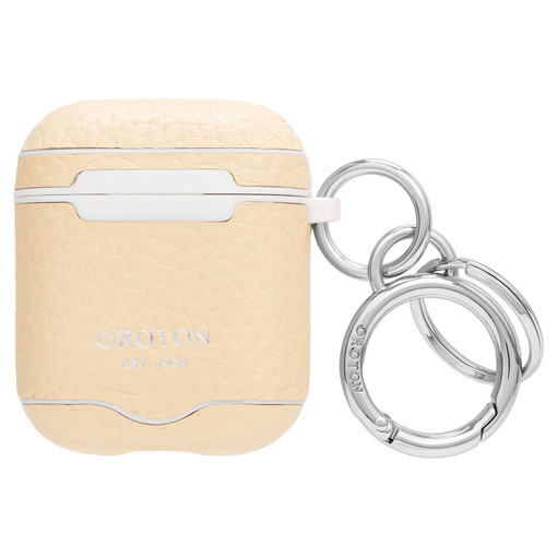 Oroton Anna AirPods Case Keyring in Honey and Pebble Leather for female