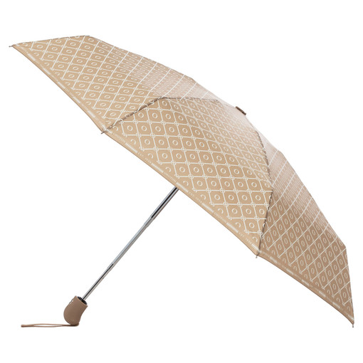 Oroton Parker Small Umbrella in Fawn/Cream and Printed Pongee Fabric for female