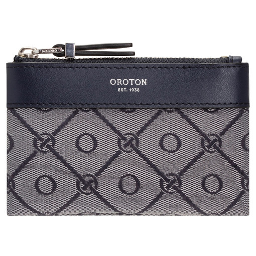 Oroton Elsie Coin Pouch in Indigo/Grey Mist and Elsie Signature Jacquard Fabric/Vachetta Leather for female