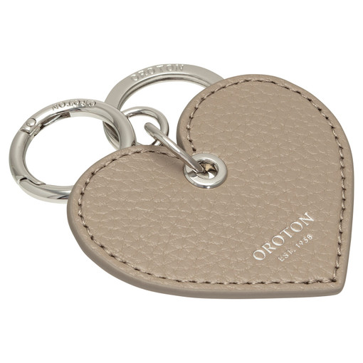 Oroton Lucy Heart Keyring in Stone and Pebble Leather for female