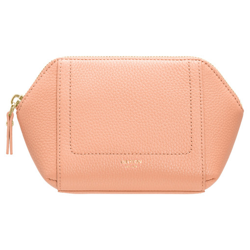 Oroton Lucy Small Beauty Case in Peach Kiss and Pebble Leather for female