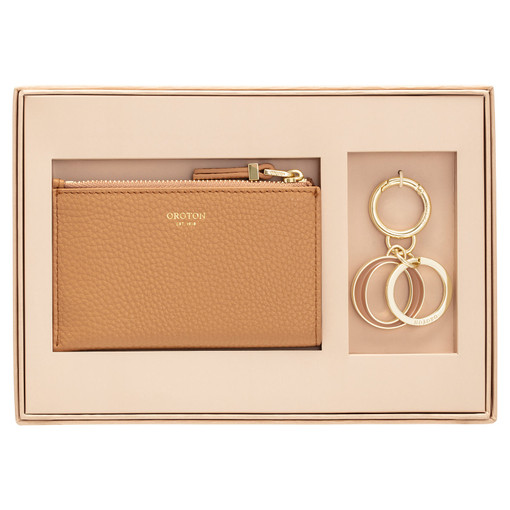 Oroton Anna Mini 4 Credit Card Wallet And Key Ring Set in Biscotti and Pebble Leather for female