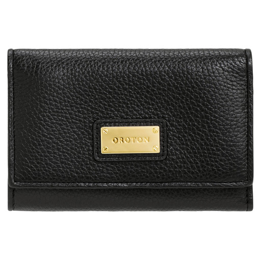 Oroton Kiera Highfold Wallet in Black and Pebble Leather for female