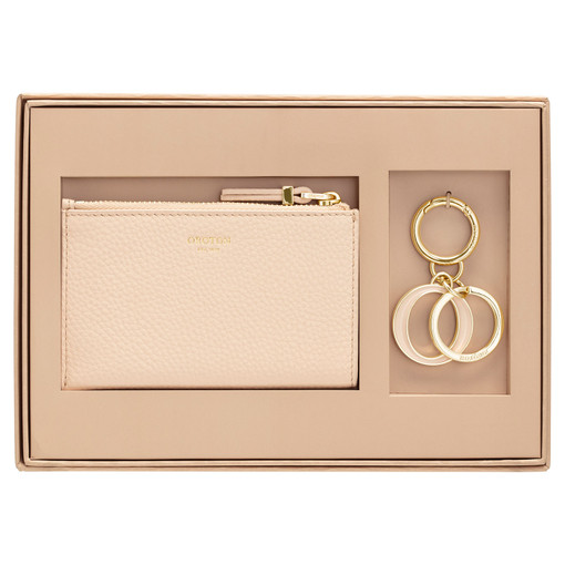 Oroton Anna Mini 4 Credit Card Wallet And Key Ring Set in Soft Peach and Pebble Leather for female