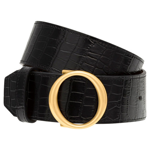 Oroton Phoebe Texture Jeans Belt in Black and null for female