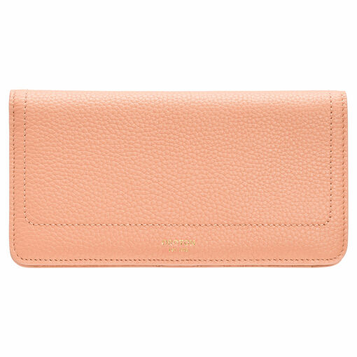 Oroton Lucy Fold Over Wallet in Peach Kiss and Pebble Leather for female
