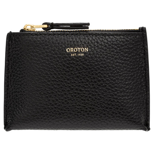 Oroton Anna Coin Pouch in Black and Pebble Leather for female