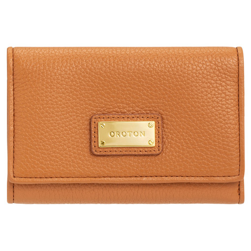 Oroton Kiera Highfold Wallet in Light Cognac and Pebble Leather for female