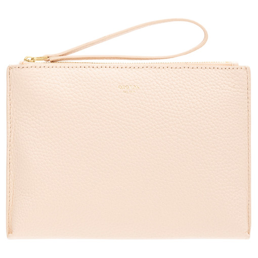 Oroton Anna Medium Pouch in Soft Peach and Pebble Leather for female