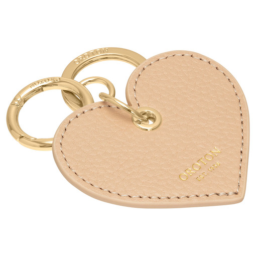 Oroton Lucy Heart Keyring in Praline and Pebble Leather for female