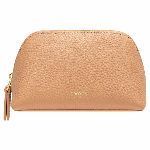 Oroton Anna Small Beauty Case in Biscotti and Pebble Leather for female