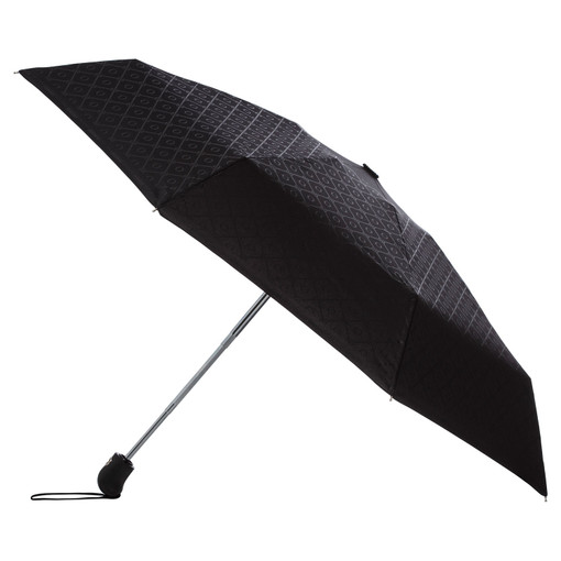 Oroton Parker Small Umbrella in Black/Black and Printed Pongee Fabric for female