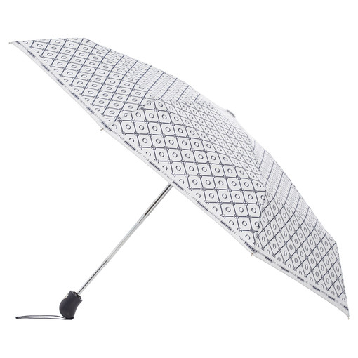 Oroton Parker Small Umbrella in Indigo/Grey Mist and Printed Pongee Fabric for female