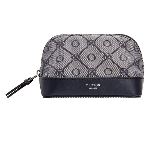 Oroton Elsie Small Beauty Case in Indigo/Grey Mist and Elsie Signature Jacquard Fabric/Vachetta Leather for female