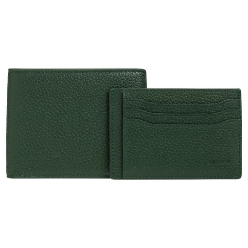 Oroton Harry Pebble 8 Credit Card Wallet And Credit Card Sleeve Set in Moss Green and Pebble Leather for male