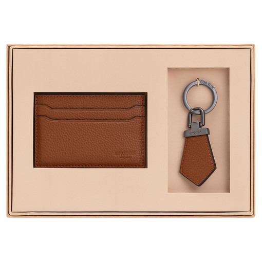 Oroton Harry Pebble Tag Keyring And Credit Card Sleeve Set in Cognac and Pebble Leather for male