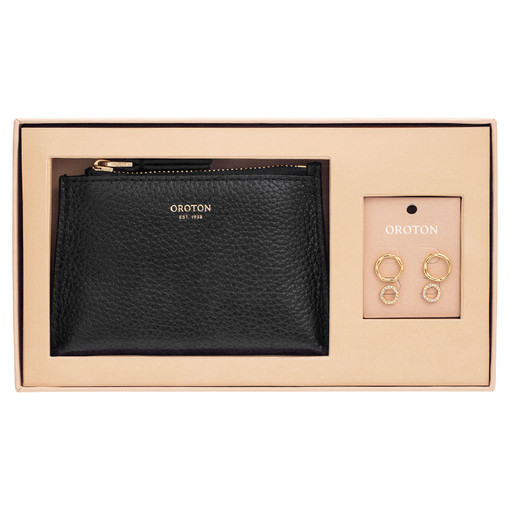 Oroton Anna Coin Pouch And Stud Set in Black and Pouch (Pebble Leather), Stud Set (Brass Base Metal With Precious Metal Plating) for female