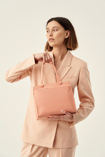 Oroton Lucy Small Tote in Peach Kiss and Pebble Leather for female