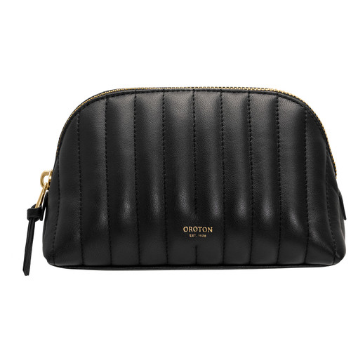 Oroton Fay Make Up Pouch in Black and Nappa Leather for female