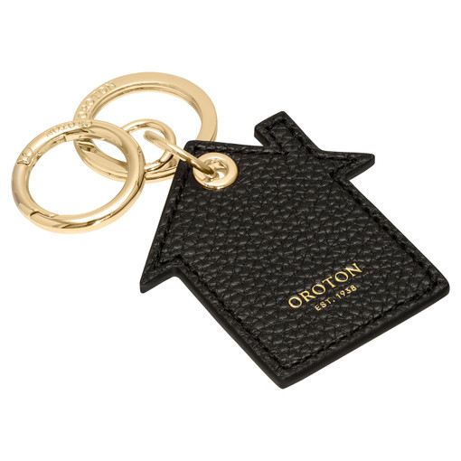 Oroton Lucy House Keyring in Black and Pebble Leather for female