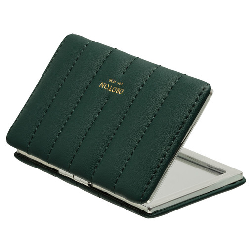 Oroton Fay Rectangle Mirror in Fern Green and Nappa Leather for female