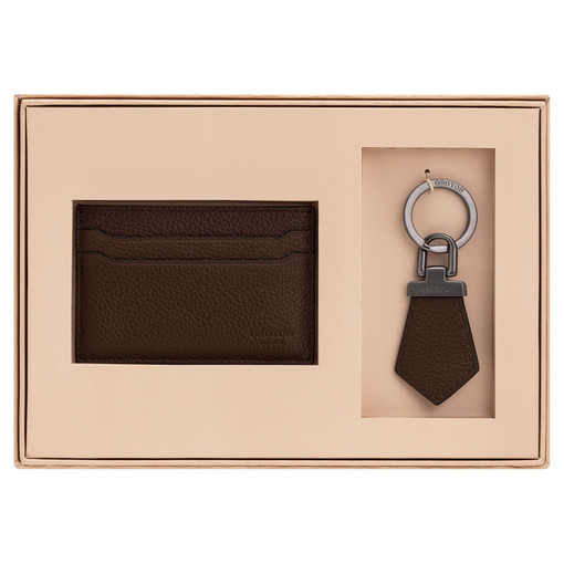 Oroton Harry Pebble Tag Keyring And Credit Card Sleeve Set in Cedar and Pebble Leather for male