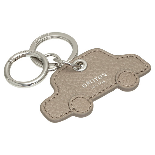 Oroton Lucy Car Keyring in Stone and Pebble Leather for female